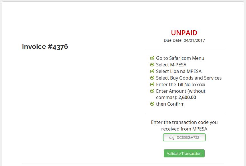 Watu Technology - WHMCS MPESA Unpaid Invoice