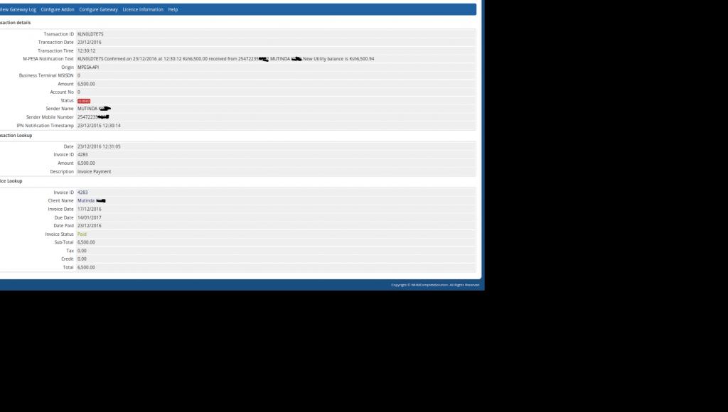 Watu Technology - WHMCS MPESA Transactions Lookup