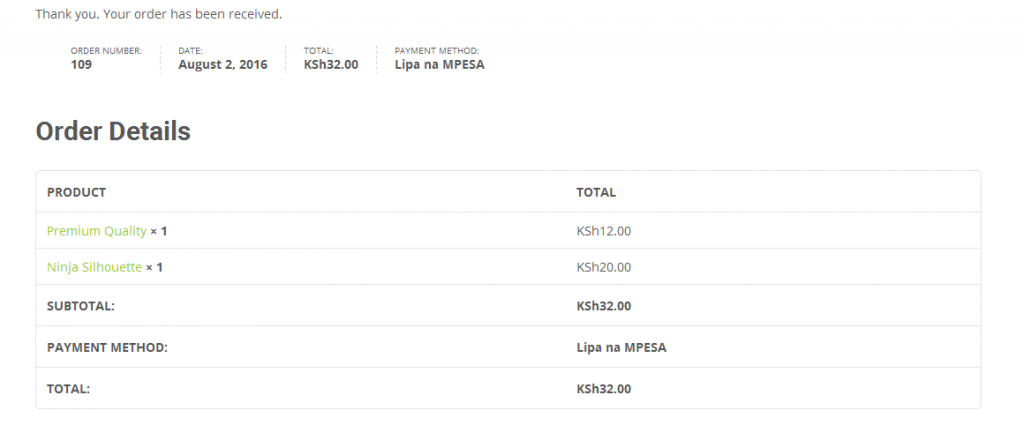 Watu Technology - Woocommerce Mpesa Successful Checkout